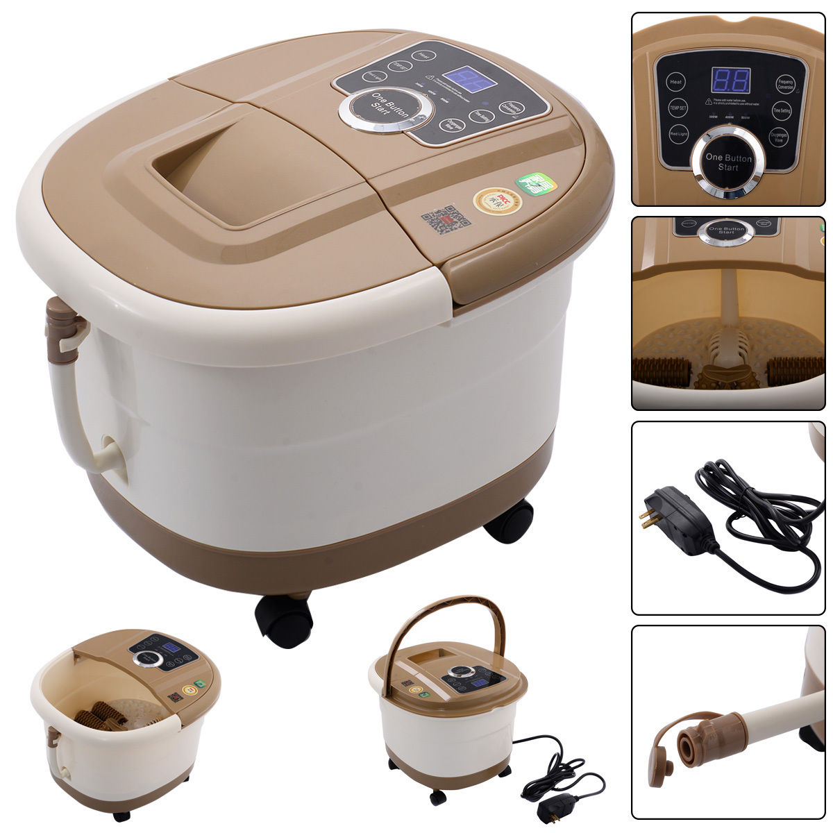 Portable Foot Spa Bath Massager Bubble Heat LED Display Vibration Infrared Relax HW52579