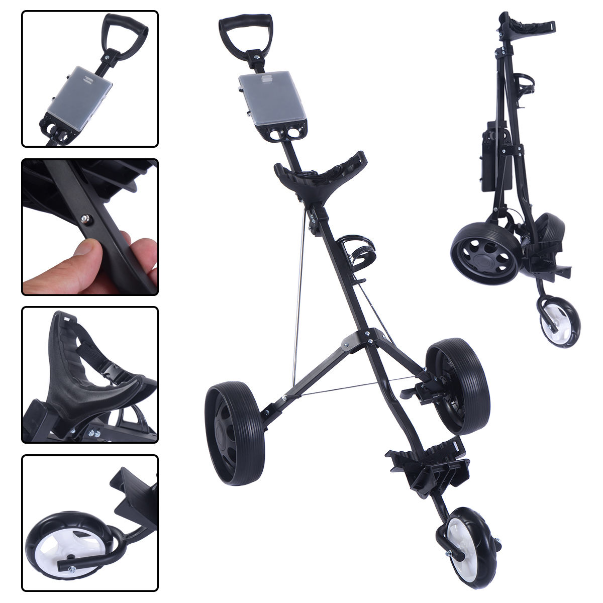 Foldable 3 Wheel Push Pull Golf Cart /Cup Holder Trolley Swivel Steel Light SP35190