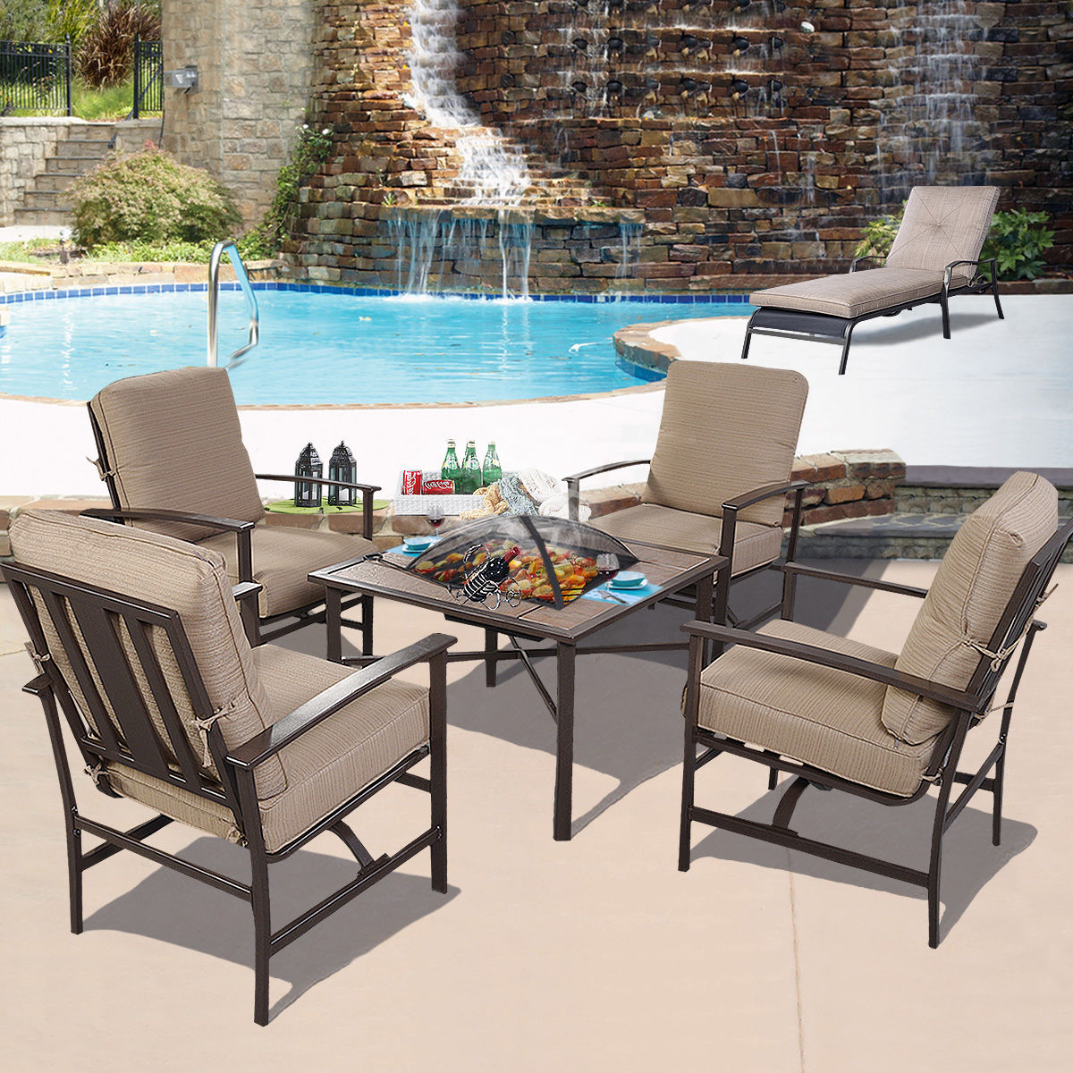 Garden Furniture Steel 5 pcs patio steel chair/bbq stove cushioned set - outdoor