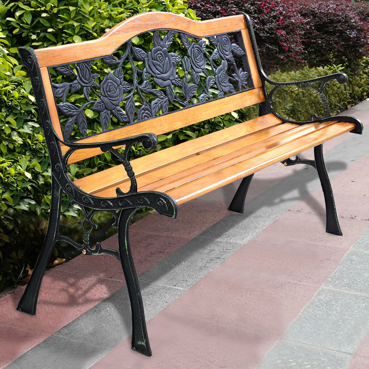 Outdoor Cast Iron Patio Bench Rose   Outdoor Benches   Outdoor Seating   Outdoor  Furniture   Furniture