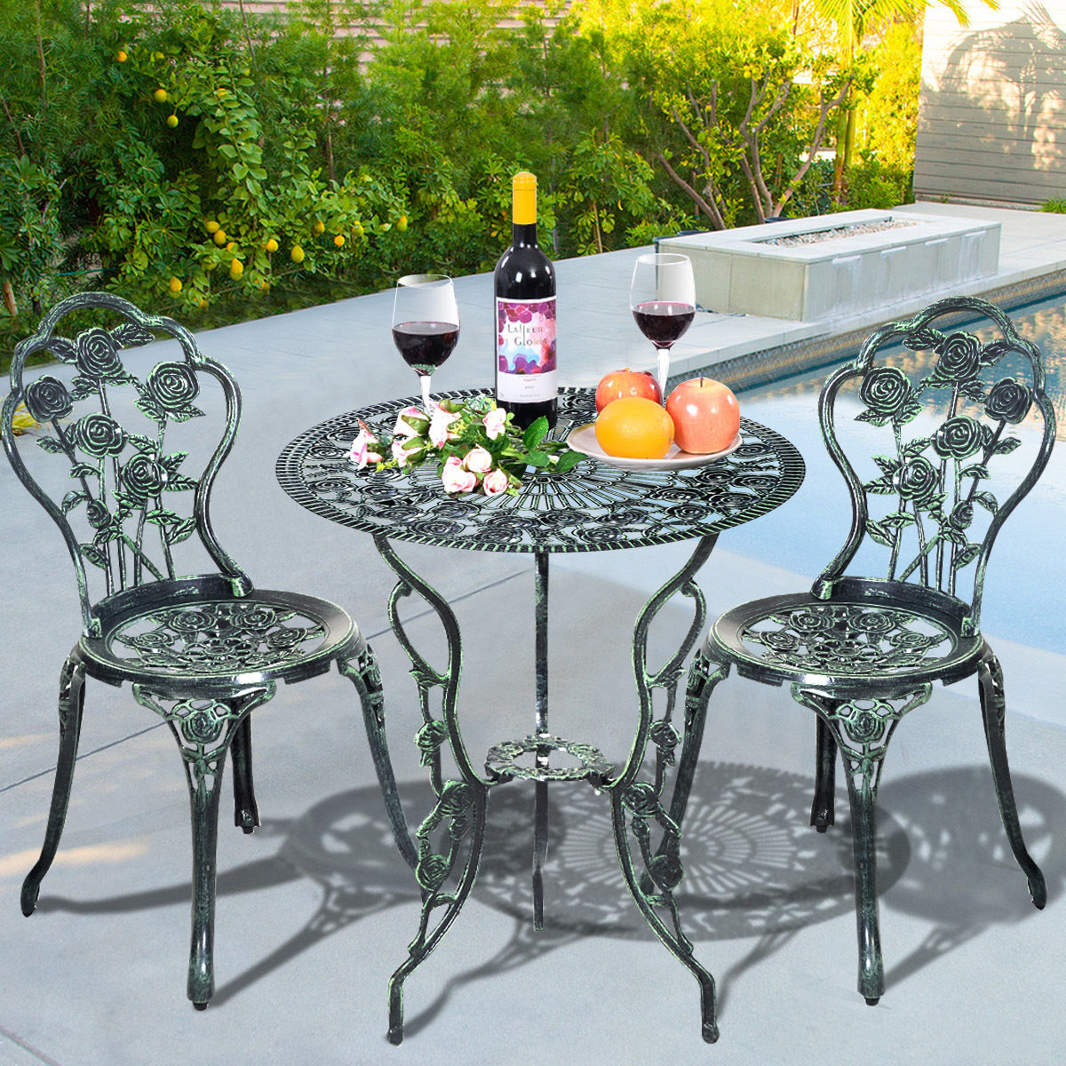 Cast Aluminum Bistro Rose Furniture Set - Outdoor Furniture Sets - Outdoor  Furniture - Furniture - Cast Aluminum Bistro Rose Furniture Set - Outdoor Furniture Sets