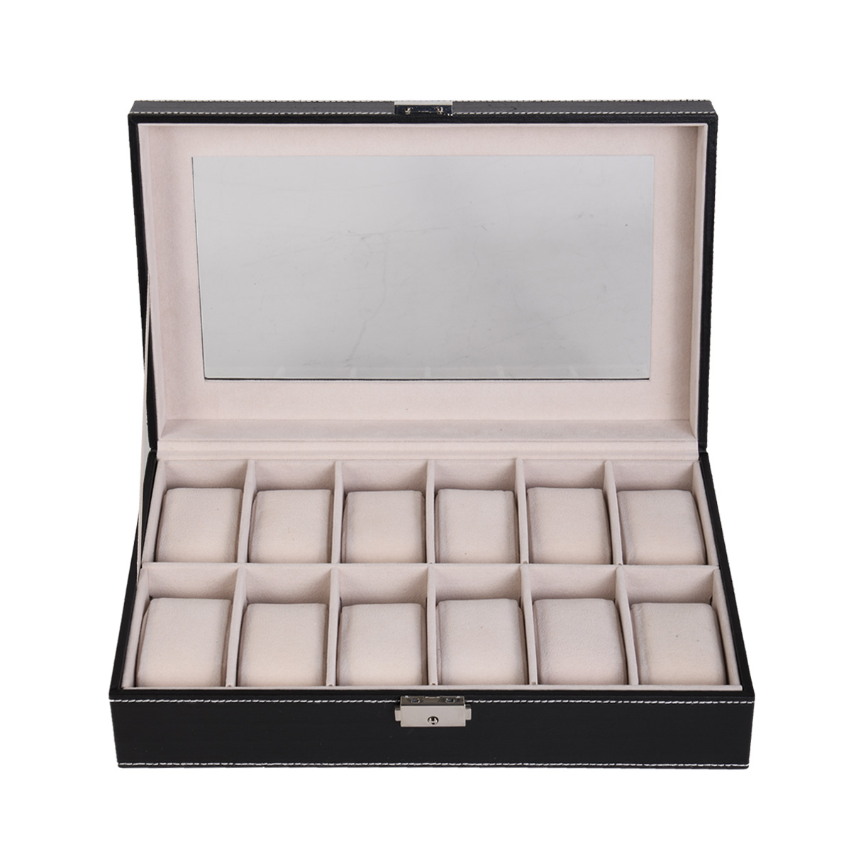 12 Slots PU Leather Watch Box Display Jewelry Case Organizer Watch