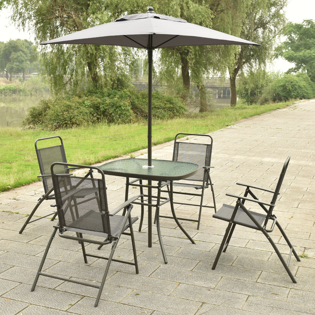 Charmant 6 Pcs Patio Folding Furniture Set With An Umbrella