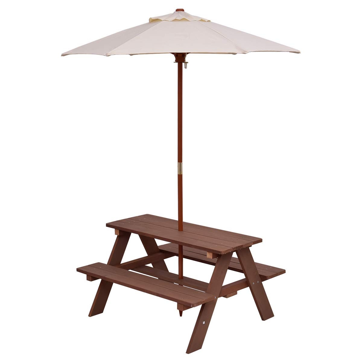 Costway 4 Seat Kids Picnic Table w//Umbrella Garden Yard Folding Children Bench Outdoor
