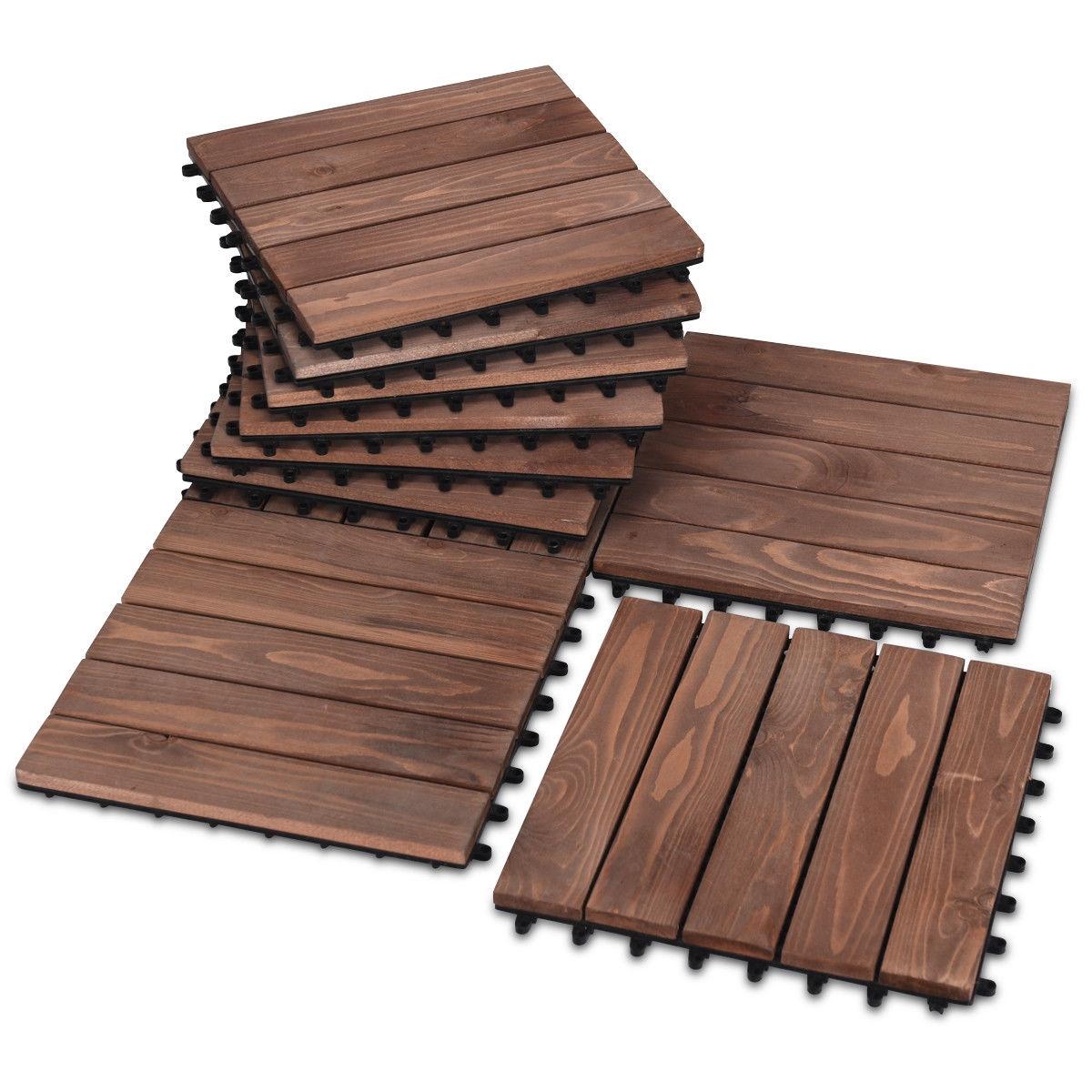 12 X Patio Interlocking Flooring, Outdoor Interlocking Tiles For Patio