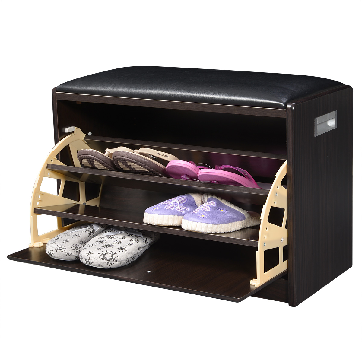 2 In 1 Wooden Shoe Cabinet Ottoman   Storage U0026 Entryway Benches   Benches    Furniture