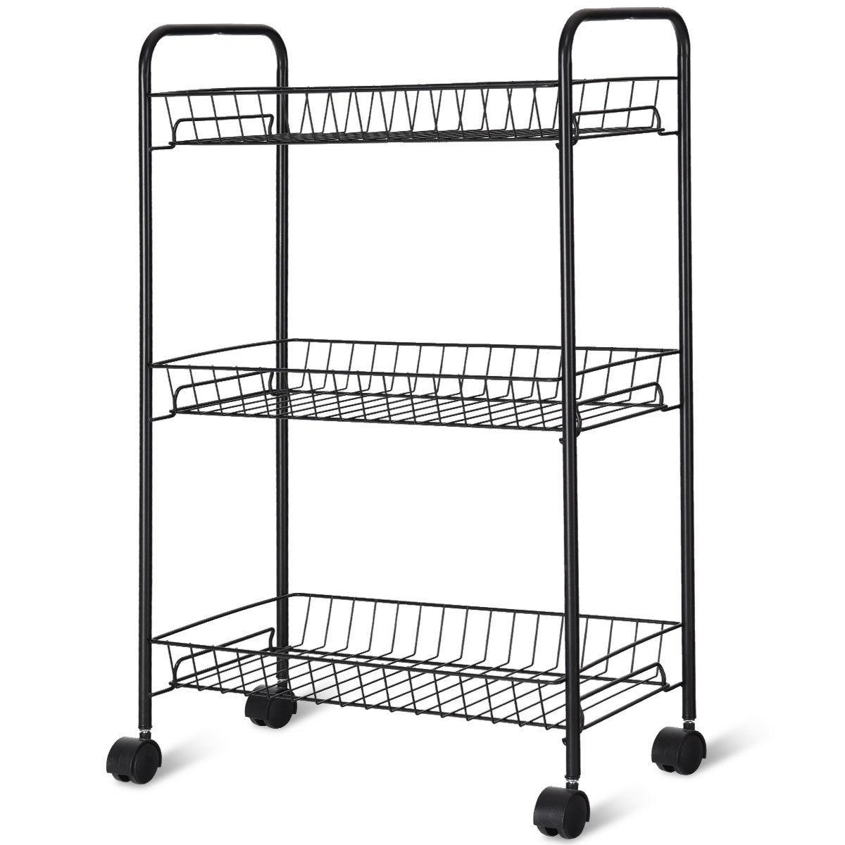 3-Tier Mesh Wire Basket Rolling Cart Kitchen Storage Cart with Wheels Shelving Wire Basket Shelf Trolley Silver